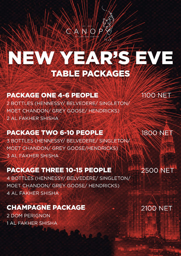 New Years Eve Table Packages 2018
